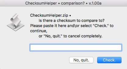 Screenshot ChecksumHelper
